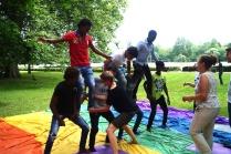 Akrobatik Workshop mit Simone Wedel und Kim Droel - Projekt Abenteuer Sommerferien - Feder im Wind 2016